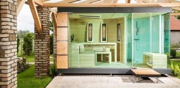 gartensauna luxus saunahaus finnische gartensauna. Black Bedroom Furniture Sets. Home Design Ideas